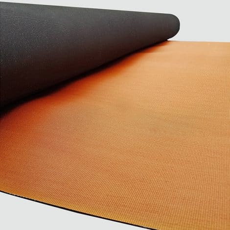 Dura Floor Roll Showing Surface (Black) and Backing (Orange)