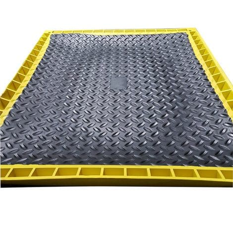 Base of Foot Bath Mat with Yellow Edge